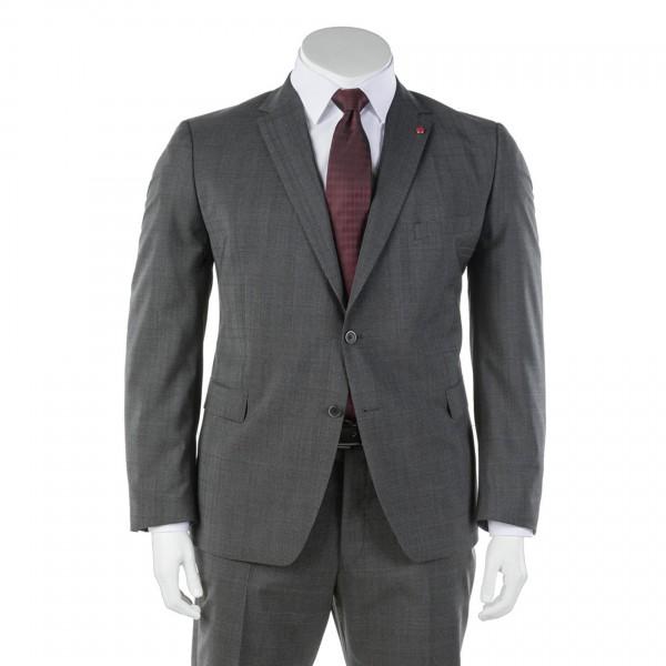 Anzug-Sakko Zwei-Knopf grau kariert einreihig