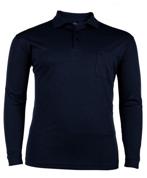 Polo-Shirt mit Knopfleiste langarm Interlock Basic