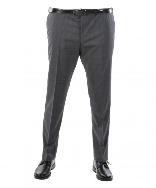 Anzug-Hose Flat-Front grau kariert