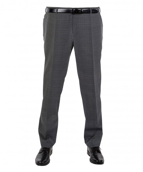 Anzug Hose Flat-Front in grau kariert